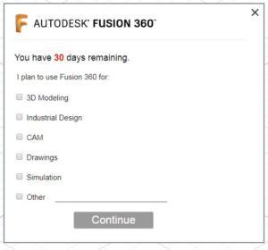 Fusion 360 aktivace zdarma krok 1