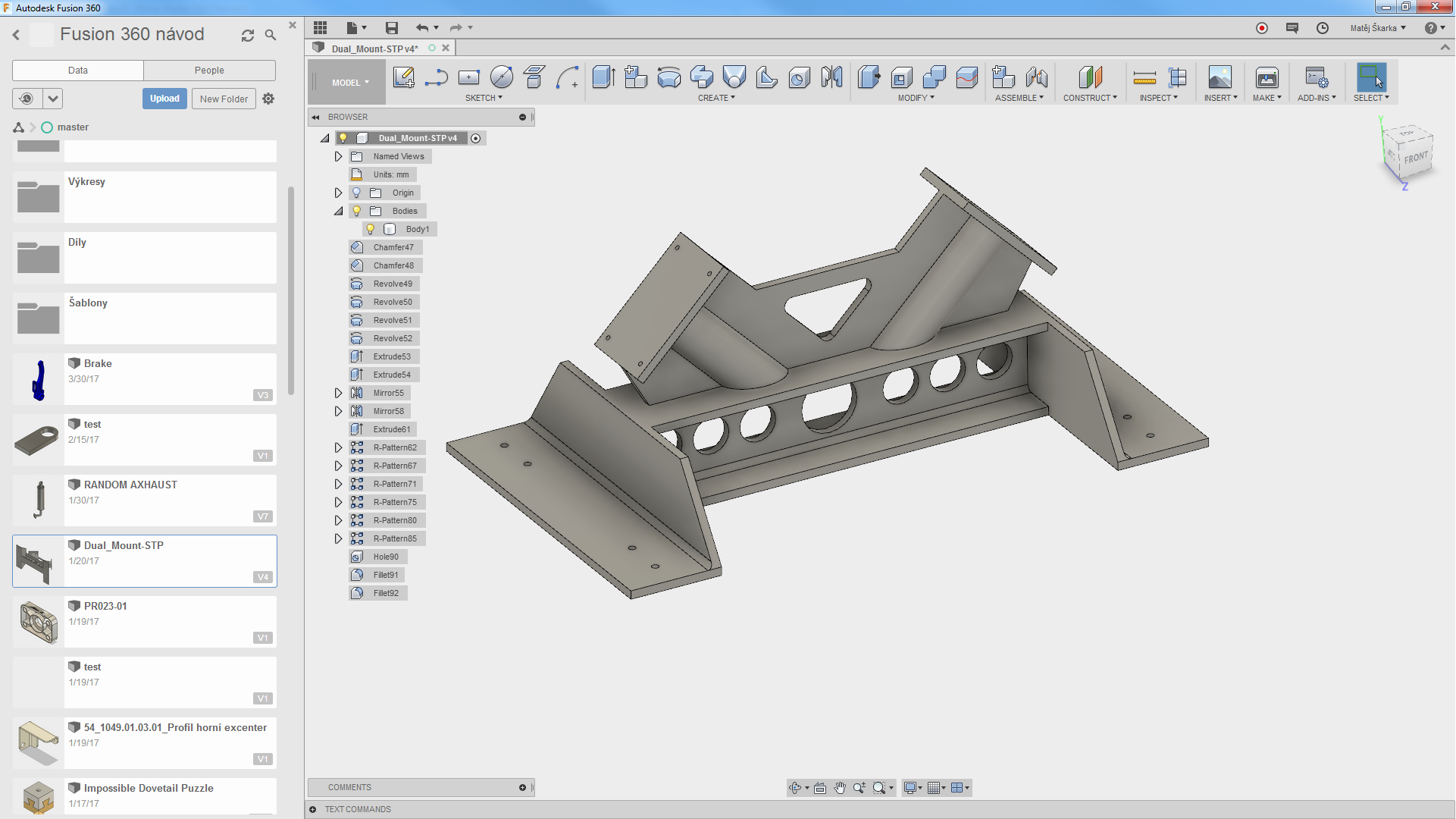 Fusion 360 find features history