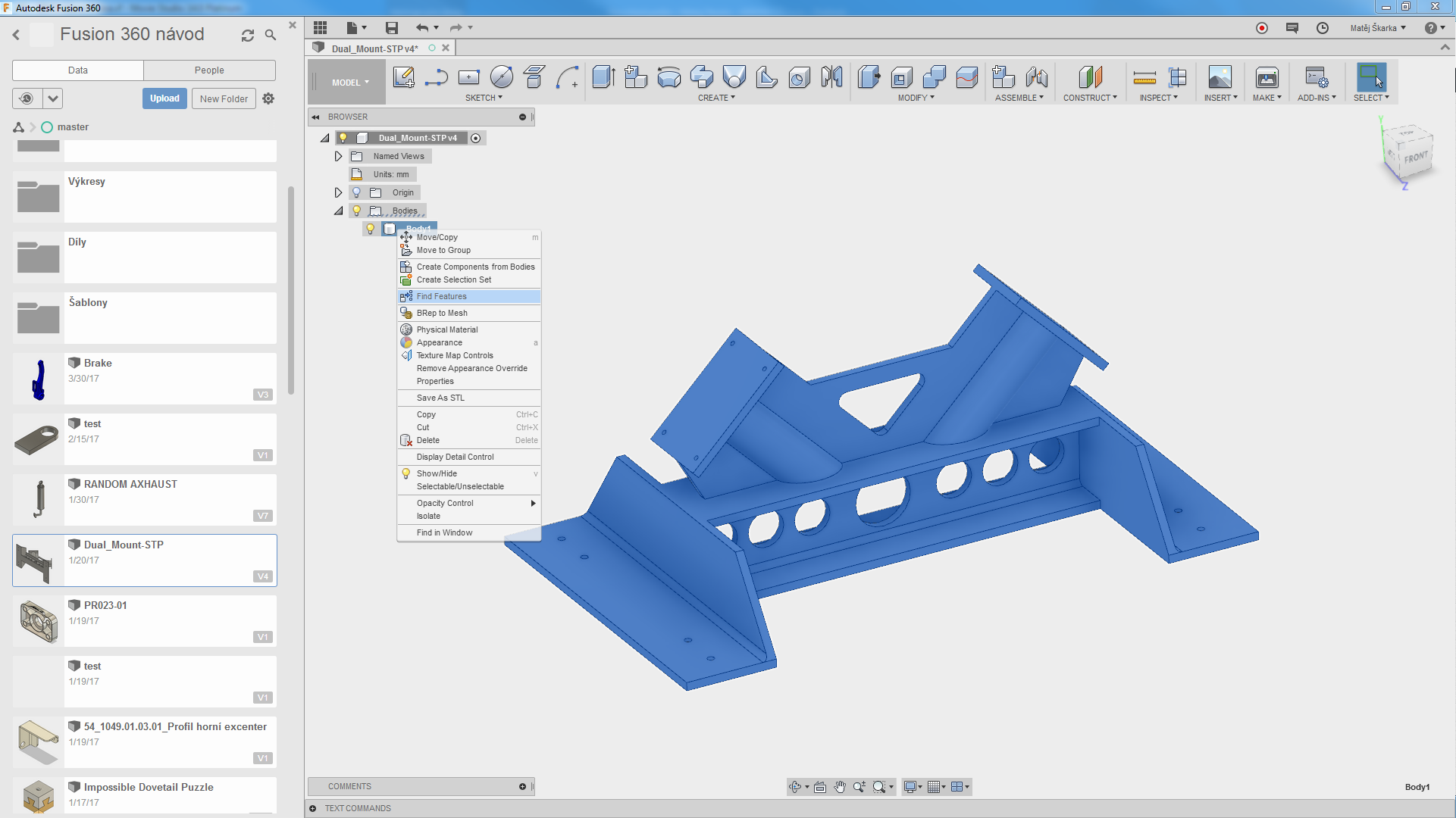 Fusion 360 Find Features