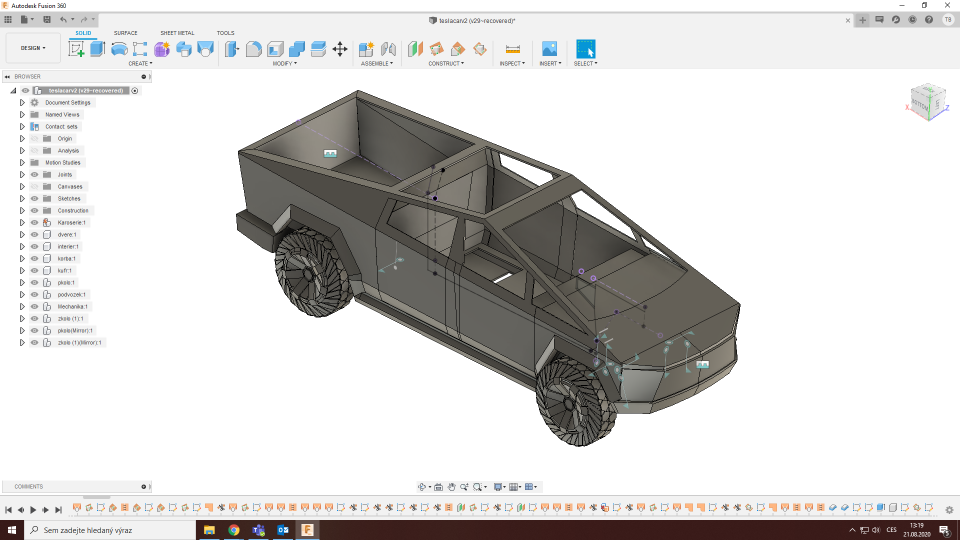 Fusion 360 skoleni pokrocile techniky modelovani auto